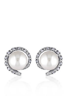 10k White Gold Cultured Freshwater Pearl and Diamond Stud Earrings