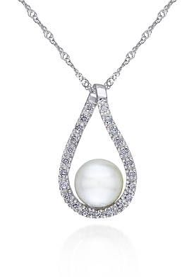 14k White Gold Cultured Freshwater Pearl and Diamond Pendant