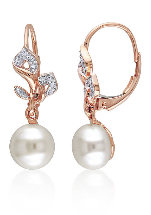 10k Rose Gold Cultured Freshwater Pearl and Diamond Earrings