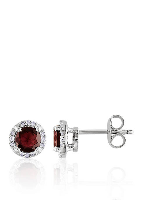 Belk & Co. Garnet and Diamond Earrings in