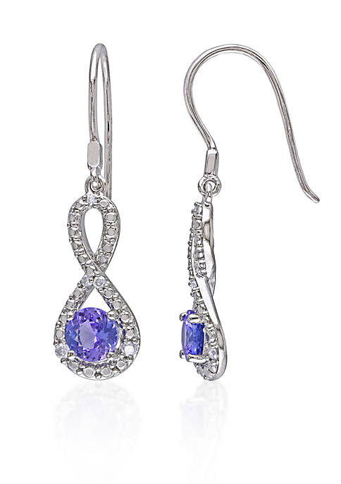 Sterling Silver Tanzanite and Diamond Infinity Earrings