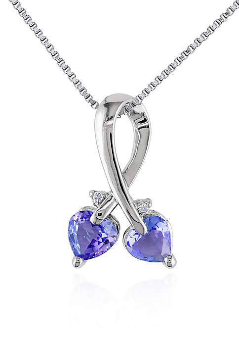 Sterling Silver Tanzanite and Diamond Heart Pendant