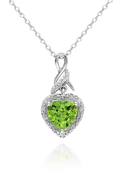 Sterling Silver Peridot and Diamond Heart Pendant