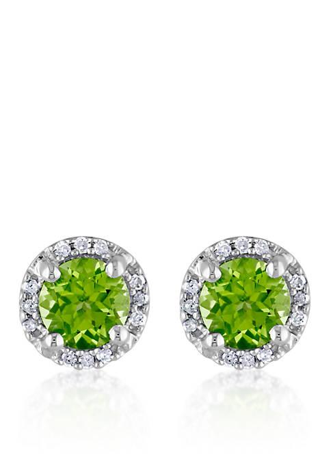 Sterling Silver Peridot and Diamond Stud Earrings