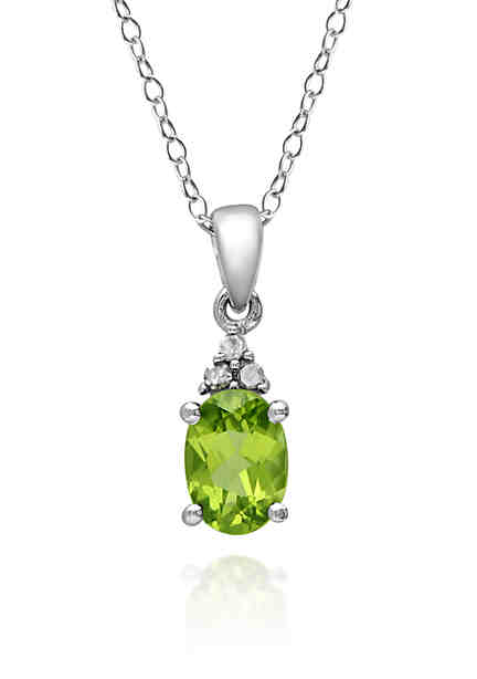 Necklaces pendants diamond pearl silver gold more belk sterling silver peridot and diamond pendant aloadofball Gallery