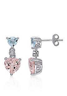 Sterling Silver Morganite, Blue Topaz, and Diamond Heart Earrings