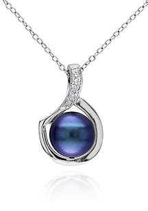 Sterling Silver Black Cultured Freshwater Pearl and Diamond Pendant