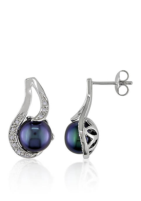 Sterling Silver Black Cultured Freshwater Pearl and Diamond Earrings