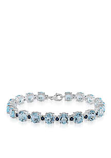 Sterling Silver Blue Topaz and Sapphire Bracelet