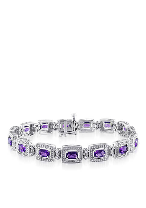 Sterling Silver Amethyst and Diamond Bracelet