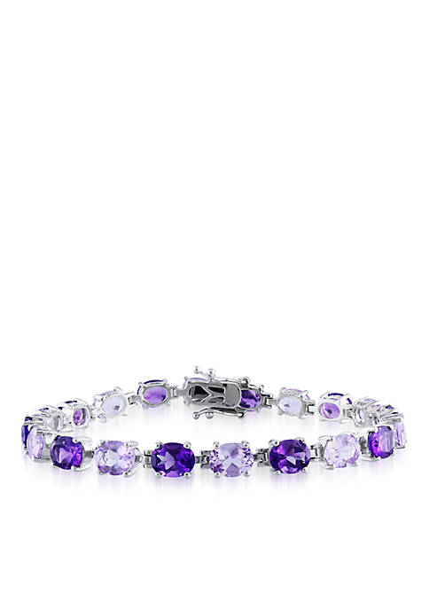 Sterling Silver Amethyst and Rose de France Amethyst Bracelet