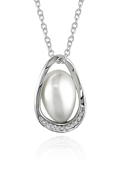 Sterling Silver White Cultured Freshwater Pearl and Diamond Pendant