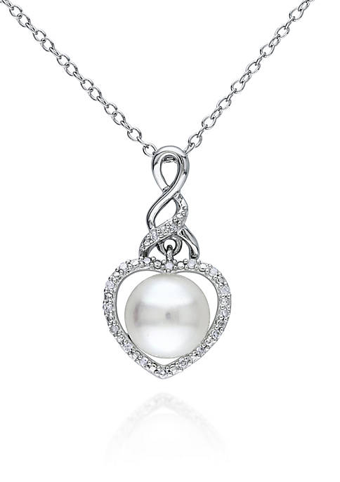 Sterling Silver White Cultured Freshwater Pearl and Diamond Heart Pendant