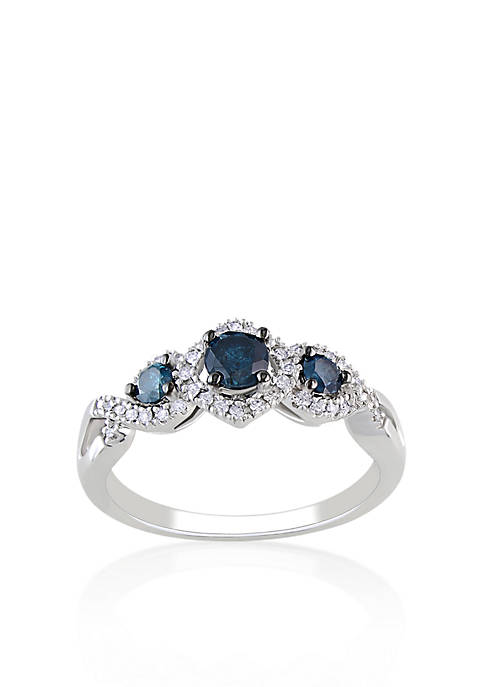 Belk & Co. Blue and White Diamond Three