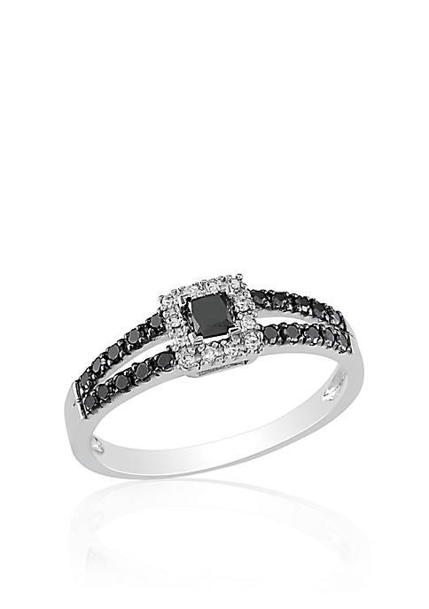Belk & Co. Black and White Diamond Ring