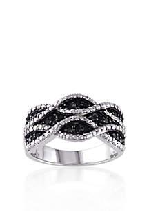 Black Diamond Ring in Sterling Silver