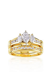 1 ct. t.w. Diamond Bridal Set in 14k Yellow Gold