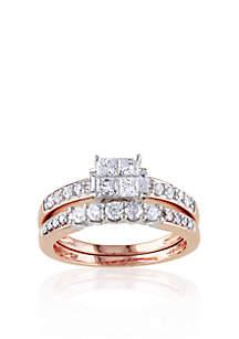 1 ct. t.w. Diamond Bridal Ring Set in 14k Rose Gold