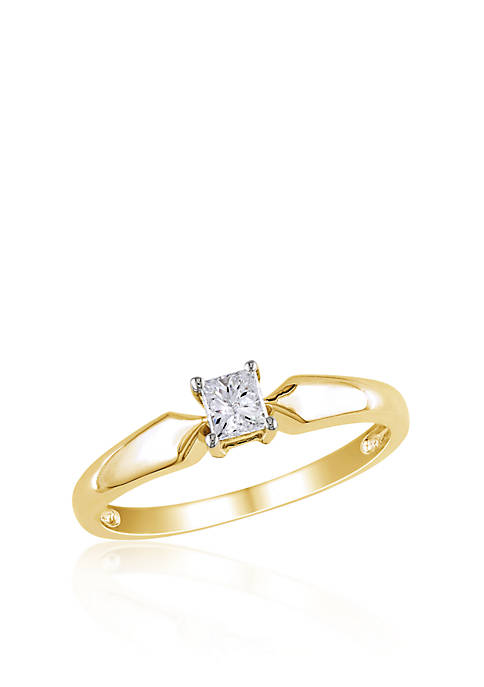 Diamond Solitaire Ring in 10k Yellow Gold