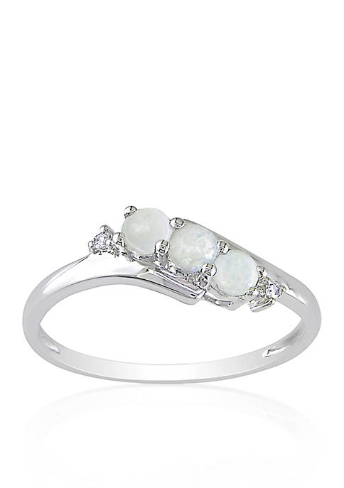 Belk & Co. 10k White Gold Opal and