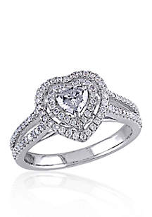 3/4 ct. t.w. Diamond Engagement Heart Ring in 14k White Gold