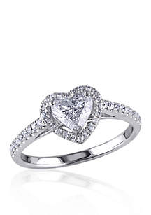 1 ct. t.w. Diamond Engagement Heart Ring in 14k White Gold