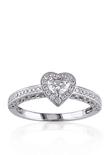 1/2 ct. t.w. Diamond Engagement Heart Ring in 14k White Gold