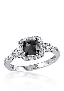 1 ct. t.w. Black and White Diamond Engagement Ring in 14k White Gold