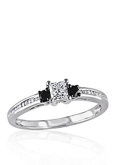 Belk & Co. 1/2 ct. t.w. Black and White Diamond Engagement Ring in 10k White Gold
