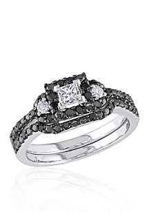 1/2 ct. t.w. Black and White Diamond Bridal Ring Set in 10k White Gold