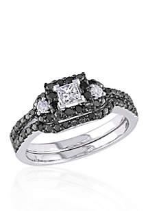 Belk & Co. 1/2 ct. t.w. Black and White Diamond Bridal Ring Set in 10k White Gold