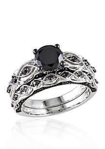 1.38 ct. t.w. Black Diamond Bridal Ring Set in 10k White Gold