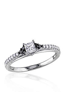 1/2 ct. t.w. White and Black Diamond Engagement Ring in 10k White Gold