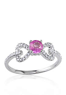 10k White Gold Pink Sapphire and Diamond Ring