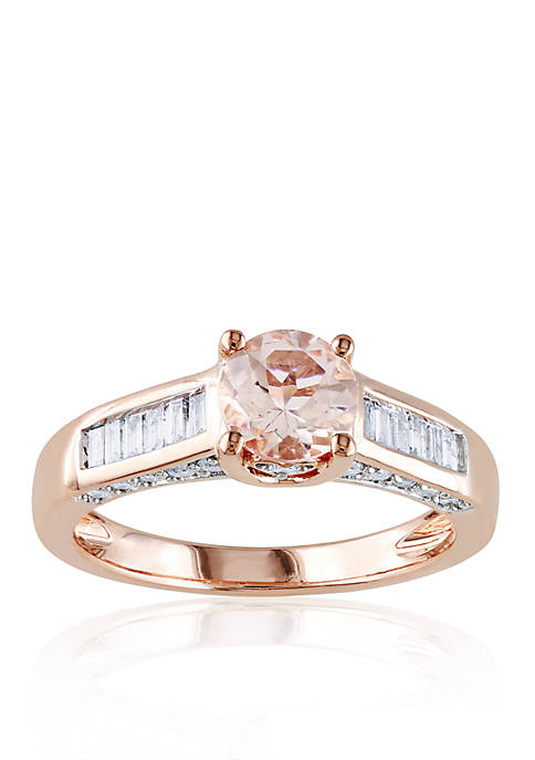 4/5 ct.t.w. 14k Rose Gold Morganite and Diamond Engagement Ring