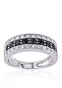 White and Black Diamond Band in 14k White Gold