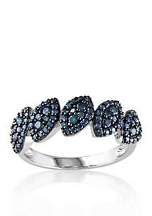 Blue Diamond Ring in 10k White Gold