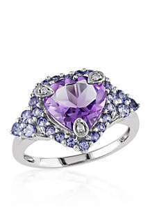 Tanzanite, Amethyst, and Diamond Heart Ring in 10k White Gold