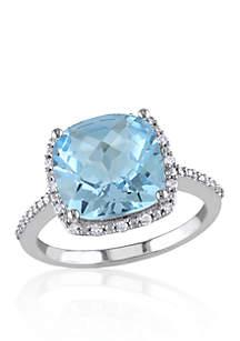10k White Gold Blue Topaz and Diamond Ring