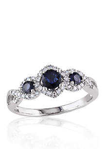 10k White Gold 3 Stone Sapphire and Diamond Ring