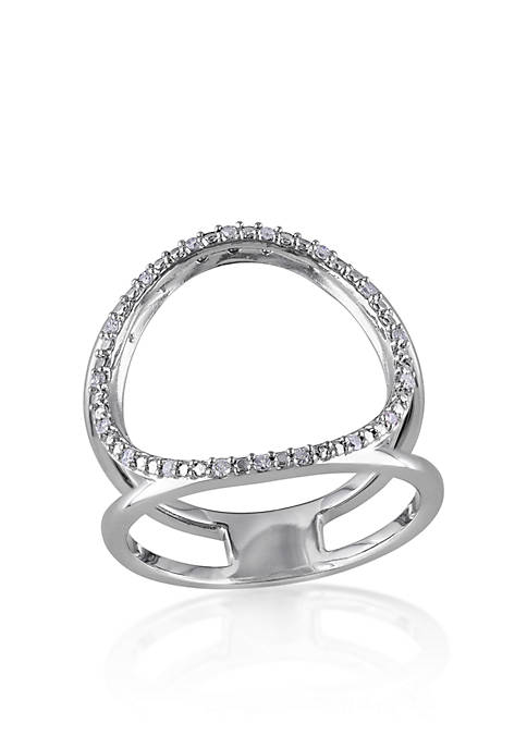 Diamond Open Circle Ring in Sterling Silver