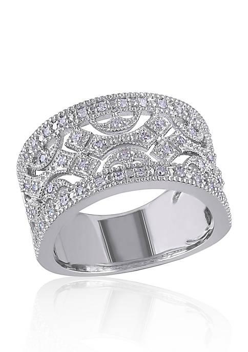 Diamond Open Design Ring in Sterling Silver
