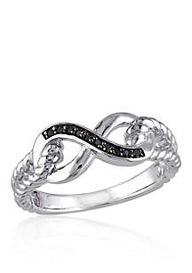 Black Diamond Infinity Ring in Sterling Silver