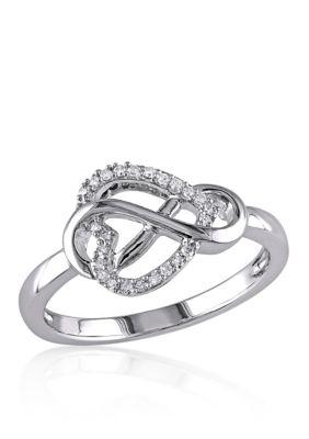 Belk Co. Women Diamond Heart Infinity Ring In Sterling Silver