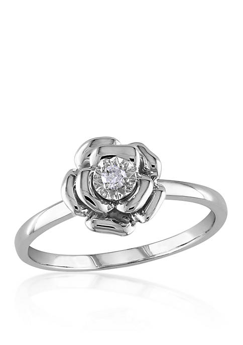 Belk & Co. Diamond Flower Ring in Sterling