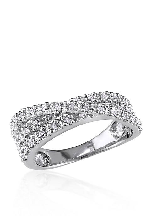 Belk & Co. Diamond Crossover Ring in Sterling
