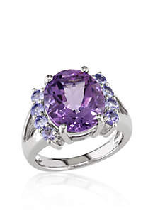 Amethyst and Tanzanite Ring in Sterling Silver