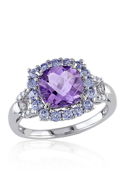 Belk & Co. Amethyst, Tanzanite, and Diamond Ring