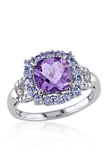 Amethyst, Tanzanite, and Diamond Ring in Sterling Silver