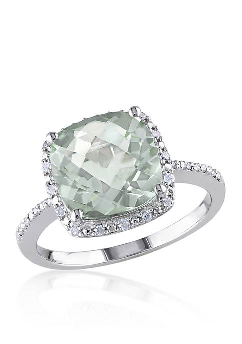Belk & Co. Green Amethyst and Diamond Ring